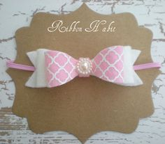 Pink Felt Bow Headband for Girls- Pink & White Quatrefoil Print Wool Felt Stacked Bow Hair Accessory, Photo Prop- Infants, Toddler, Babies