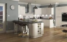 See our range of Modern Kitchens & kitchen units. All of our Modern Kitchens & kitchen units are available at trade prices. Cream Kitchen Walls, Grey Kitchen Diner, High Gloss White Kitchen, Gray And White Kitchen, New Kitchen, Kitchen Ideas, Cream Gloss Kitchen Decor, Cashmere Kitchen, Light Grey Kitchens