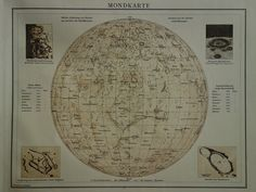 1887 antique astronomy map of the solar system  old print about