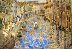 """""""Venetian Canal Scene,"""" Prendergast Maurice, 1898-1899, pencil and watercolor on paper, 20.4 x 13.9"""", Arthur G. Altschul collection."""
