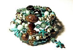 Handmade Gemstone 5  Wrap Memory Bead Bracelet  aqua, mint, brown