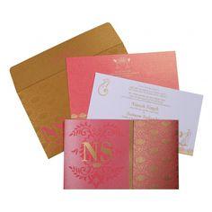 Hindu Wedding Cards - W-8261B #HinduCards #HinduWeddingInvitations #HinduInvitations #HinduInvites