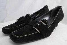 Stuart Weitzman Suede Pumps Kitten Heels Black Buckle Spain Size 7 N #StuartWeitzman #KittenHeelsPumpsHeels