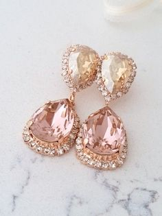 Blush chandelier earringsBlush pink bridal earringsBlush Pink