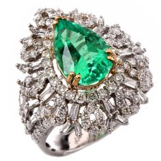 3.34 Carat Emerald Baguette and Round Diamond Gold Cocktail Ring