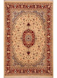 """Beige/Gold Persian Isfahan Rug 4' 1"""" x 6' 2"""" (ft) - No. 15535"""