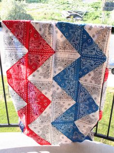 chevron table cloth/quilt top made from bandanas - maybe just red and white chevrons with blue square up top ? Patchwork Quilt, Chevron Quilt, Blue Quilts, Quilt Top, Chevron Tablecloth, Colorful Quilts, Blue Chevron, Scrappy Quilts, Easy Quilts