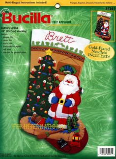 "Bucilla Santa's Lodge ~ 18"" Felt Christmas Stocking Kit #84261, Fishing, Cabin"
