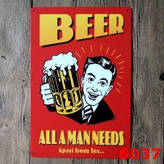 Bar Beer Metal Plates Vintage Metal tin sign Bar Wall art craft painting metal art for Home Bar Store Pub 20x30cm