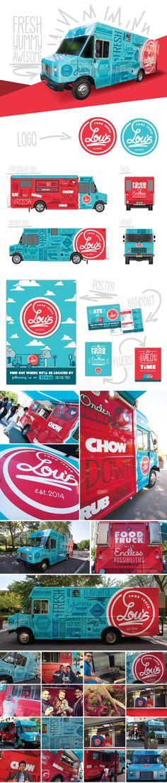 Lou's Food Truck on Behance. Great use of colors and I love it how this is such a fun truck.
