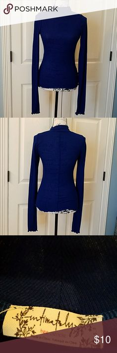 Intimately FP Mock-neck Layering Top EUC Lightweight knit, cobalt blue layering top.  Has long sleeves and mock-neck.  Bottom and cuff hems are stitched a slightly ruffled.  Only worn once.  No flaws. Free People Tops Tees - Short Sleeve