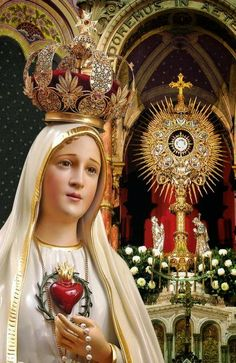 Our Lady of Fatima, Mother of the Holy Eucharist + Catholic Art, Catholic Saints, Religious Art, Roman Catholic, Mother Mary Images, Images Of Mary, Religious Pictures, Jesus Pictures, Blessed Mother Mary