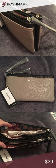 Nine West Double Compartment Wristlet Grey and Black brand new with tags. Double compartment for extra space. Nine West Bags Clutches & Wristlets