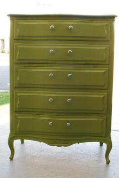 The Shabby Nest: A Dresser For The Boys' Room~ olive moss by Benjamin Moore Refurbished Furniture, Vintage Furniture, Bedroom Furniture, Home Furniture, Restoring Furniture, Furniture Ideas, Bedroom Decor, Boy Dresser, Green Dresser