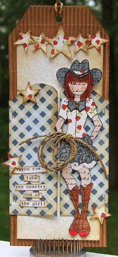 """Love Julie Nutting's cowgirl stamp """"Becky"""". #prima #julienutting @Prima @Julie Nutting"""