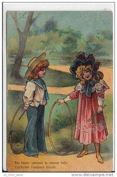 Carte Postale Ancienne Fantaisie Enfants Cerceau | eBay