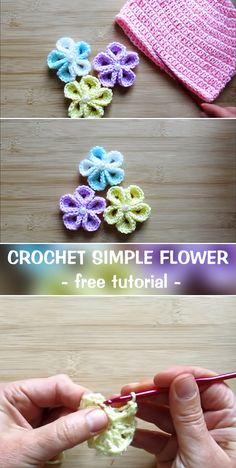 Good No Cost Crochet flowers tutorial Thoughts Crochet Flower – free crochet pattern – CROCHET-HUB Crochet Motifs, Crochet Stitches, Crochet Appliques, Crochet Basics, Crochet Crafts, Crochet Projects, Diy Crafts, Beau Crochet, Knit Crochet