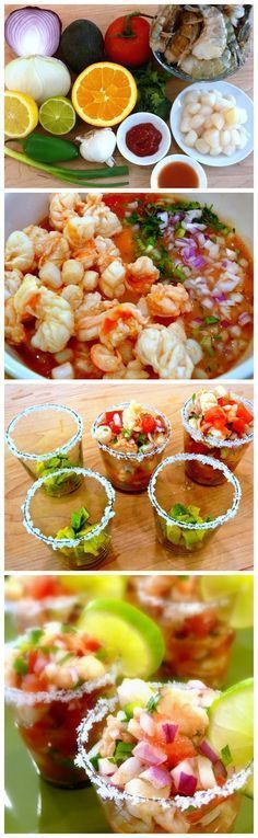 Tropical Shrimp Ceviche ~ This is a tropical version of the classic Ceviche. It uses Jumbo shrimp (pre-cooked, or raw if you prefer) Mango, Diced Sweet Or. Fish Recipes, Seafood Recipes, Appetizer Recipes, Mexican Food Recipes, Cooking Recipes, Healthy Recipes, Cuban Appetizers, Toothpick Appetizers, Seafood Appetizers
