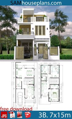 House Plans with 3 Bedrooms - Sam House Plans House Plans Mansion, Beach House Plans, Dream House Plans, House Arch Design, Bungalow House Design, Philippines House Design, Three Bedroom House Plan, Simple House Plans, Architectural House Plans