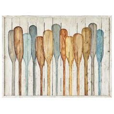 Hand-painted on pine, our depiction of oars against a planked wood fence will remind you of lazy days on a quiet lake. With just the right blend of muted blues and neutrals, it will add a peaceful touch to your living room, office or den.