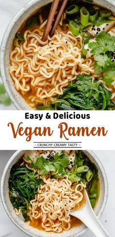Easy and Delicious Vegan Ramen Recipe – Seriously. Homemade is the only way to g… Easy and Delicious Vegan Ramen Recipe – Seriously. Homemade is the only way to go. The best part of this ramen has got to be how quick and simple it is to throw together Vegetarian Ramen Recipe, Ramen Recipes, Vegan Soups, Vegan Dinner Recipes, Healthy Recipes, Vegan Dishes, Veggie Recipes, Cooking Recipes, Vegan Food