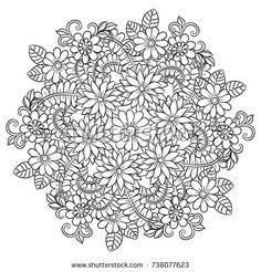 Vector Preto E Branco Trendy Flowers Pattern Drawing Mandala Coloring 45 Ideas Adult Coloring Pages, Cute Coloring Pages, Doodle Coloring, Flower Coloring Pages, Mandala Coloring, Coloring Books, Flower Pattern Drawing, Floral Drawing, Mandala Drawing