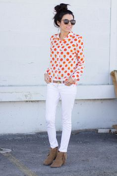 this makes me think of my pink top with white polka dots... would look great with white pants or white capris... A pair of Gap jeans as featured on the blog Hello Fashion.