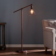 Shed a unique light on any space with the Harper Blvd Teige Floor Lamp. This industrial-style floor lamp features an eye-catching design with a steel construction and a warm copper finish. The include Copper Floor Lamp, Arc Floor Lamps, Modern Floor Lamps, Led, Lampe Tube, Swing Arm Floor Lamp, Room Lamp, Pipe Lamp, Diy Home