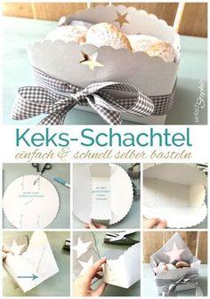 Keksbox, Keks-Schachtel selber basteln. Ganz einfache Anleitung. Ruckzuck gemacht mit http://einfachstephie.de https://einfachstephie.de/2016/11/30/vegane-plaetzchen-ohne-ei/