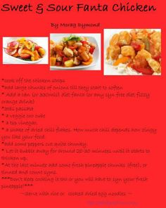 Fanta chicken - syn free meals for slimming world Slimming World Free, Slimming World Dinners, Slimming World Recipes, Slimming World Fanta Chicken, Healthy Eating Recipes, Diet Recipes, Chicken Recipes, Cooking Recipes, Chicken Fahitas