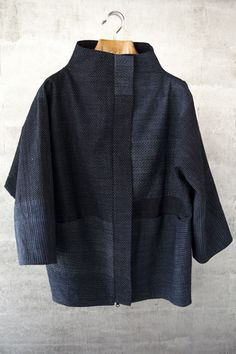 Great jacket from Asiatica KC. Vintage Japanese ikat. Bubble jacket in indigo cotton ikat. $1695.