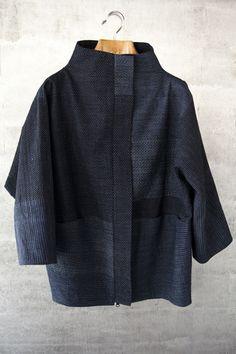 Great jacket from Asiatica KC. Vintage Japanese ikat. Bubble jacket in indigo cotton ikat. $1695.