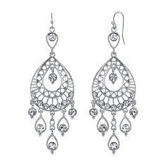 1928 Silver-Tone Crystal Filigree Teardrop Earrings ($48) ❤ liked on Polyvore featuring jewelry, earrings, tear drop earrings, holiday earrings, crystal jewelry, crystal bridal earrings and silver tone earrings