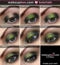 Don't think I'd ever wear, but LOVE the look. Step-By-Step Tutorial for Green makeup