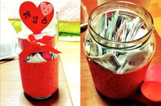 """My friend made cookies for her boyfriend and she made a """"50 reasons why I love you"""" all around the jar, for their anniversary!    After eating the cookies, inside the jar, he put all the receipts from all their dates they went on together."""