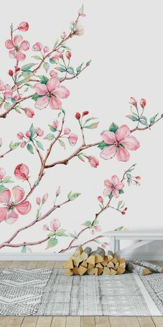 Artificial Apple Blossom Branch Cream 36 inches Spring Flowers