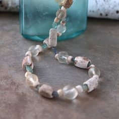 Ancient Carved Shell Necklace 2000 Year Old Indus Valley Shell Beads Aqua Ancient Roman Glass Fluorite and Old Crystals Rare Ocean Jewelry Ocean Jewelry, Gifts For Nature Lovers, Shell Necklaces, Ancient Romans, Lovers Art, Holiday Gifts, Mall, Shells