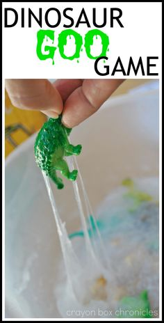 Dinosaur Goo Game – Crayon Box Chronicles This post contains affiliate links for convenience Can you find the Triceratops in the gooey-globby slime? Remember the green slime from Nickelodeon as a kid? Well, this is a clear version that … Dinosaur Games, Dinosaur Train, Dinosaur Activities, Dinosaur Crafts, Sensory Activities, Sensory Play, Dino Craft, Dinosaur Projects, Sensory Table
