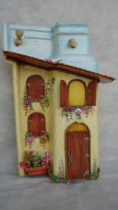 Art and Craft Ideas Clay Fairy House, Fairy Garden Houses, Decoupage, Decorative Bird Houses, Decorative Boxes, Clay Projects, Projects To Try, Diy And Crafts, Arts And Crafts