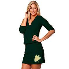 No. 9 - Oregon Ducks Ladies Green Rhinestone Drop Waist Dress