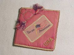 PATRIOTIC RARE WW1 SILK PADDED REMEMBRANCE HANDKERCHIEF OR LETTER HOLDER