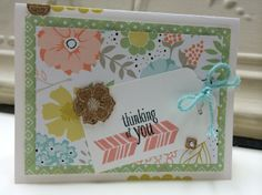 Sweet Thoughts - Beth Hess, I got the idea for this card from the Sale-A-Bration catalog. I revised the card by using a variety of shapes and colors offered by the Sweet Sorbet DSP. I used the Peaceful Petals/Petal Parade stamp sets, Whisper White card stock w Sweet Sorbet DSP, Crisp Cantaloupe/Jet Black StazOn ink pads, Scalloped Tag Topper Punch, Pearl embellishments, and Sweet Sorbet Accessory Pack (love this). I like the combination of shapes/colors.....may not be for everyone