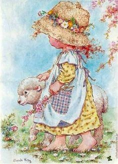 Mary had a little lamb by Sarah Key Sarah Key, Creative Pictures, Love Pictures, Sarah Kay Imagenes, Heart Illustration, Decoupage Vintage, Holly Hobbie, Beatrix Potter, Illustrations