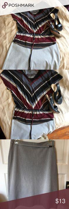 Light gray Gap Factory knee length skirt Light gray Gap Factory knee length skirt with silver buckle below waist. GAP Skirts A-Line or Full