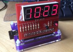 Raspberry Pi PiMuxClock Add-on Board - The PiMuxClock is an add-on board for the Raspberry Pi single port mini PC that allows you to transform it into a basic digital clock together with a temperature display.