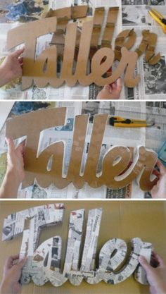 """Little House Paper: DIY: Make decorative letters very easily! I don't know why you'd make one saying """"Taller"""", but I love this idea! Cardboard Letters, 3d Letters, Cardboard Crafts, Cardboard Boxes, Diy Projects To Try, Craft Projects, Diy Paper, Paper Crafts, Fun Crafts"""