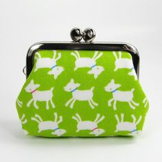 Limited Time Offer 20% off Earbud Holder Clasp Change Purse Small Frame Pouch Kawaii Goat Lime Green