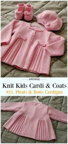 Pleats & Bows Cardigan Free Knitting Pattern - #Knit Kids #Cardigan Sweater Free Patterns