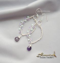silver plated copper wire wrapping earrings with amethyst briolette and swarovski bicone