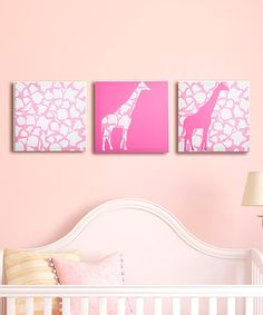 Take a look at this Rose Pink Giraffe Walk Canvas Set by GiggleDots